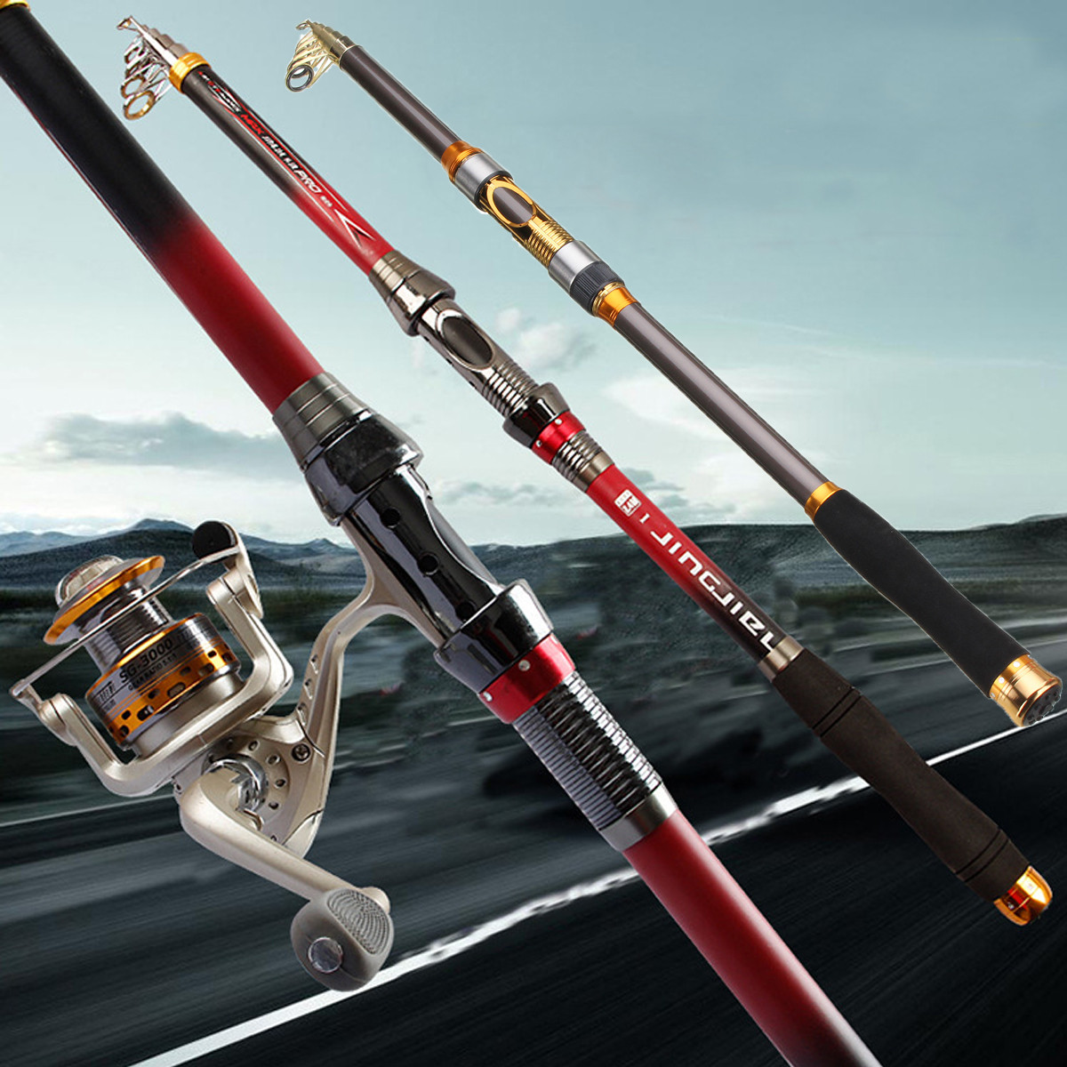 3m superhard carbon fiber telescopic fishing rod casting for Red fishing rod
