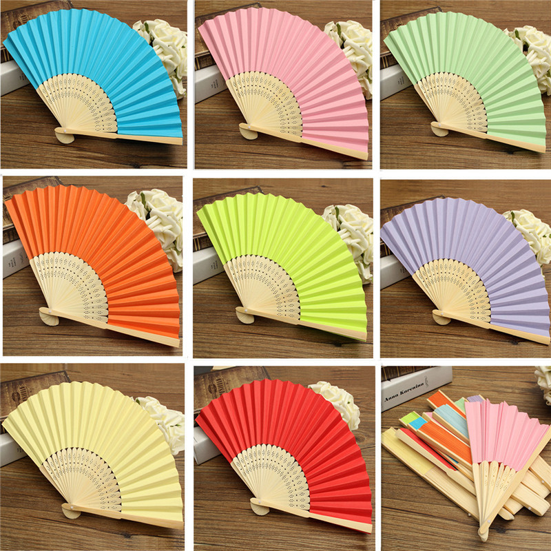 Colorful Chinese Folding Bamboo Fan Retro Hand Paper Fans Wedding Gift Favors Orange