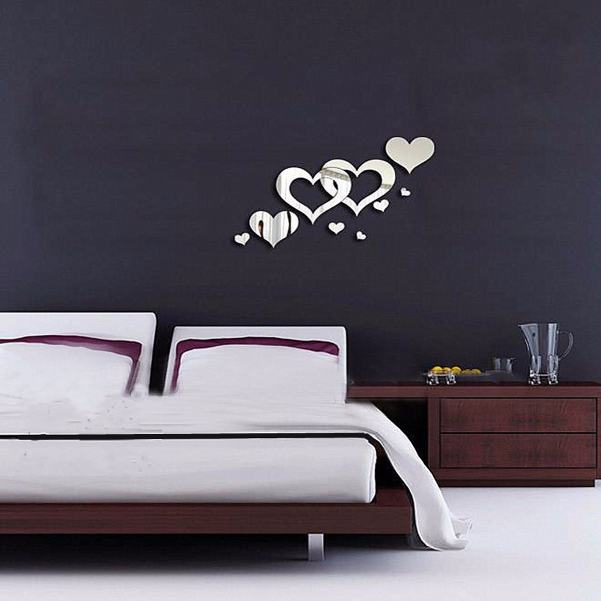 Didiy 3d home living room bedroom decor heart mirror art for Bedroom 3d wall stickers