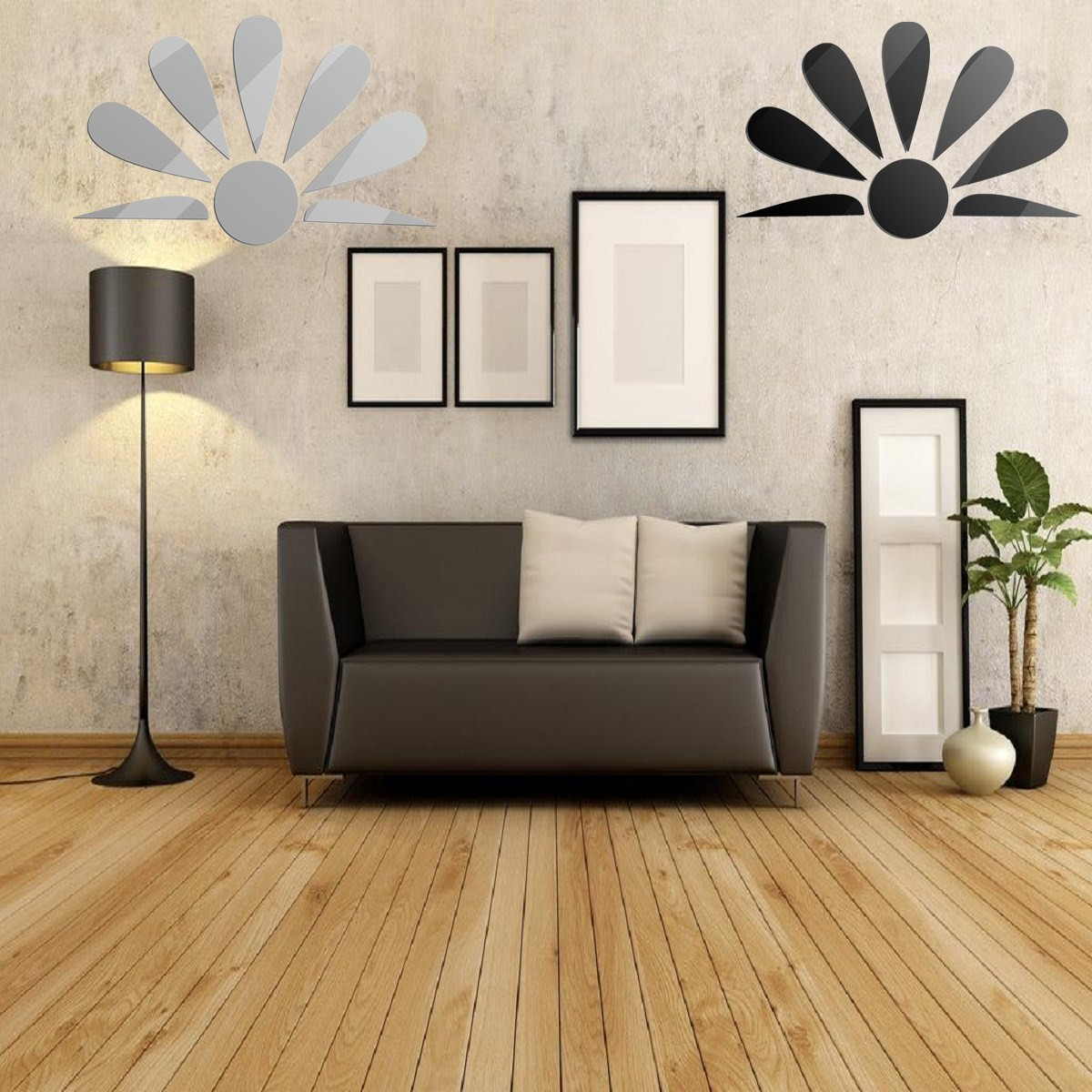 8 pcs epanouissement diy autocollant mural miroir adh sif art d cor mur chambre. Black Bedroom Furniture Sets. Home Design Ideas