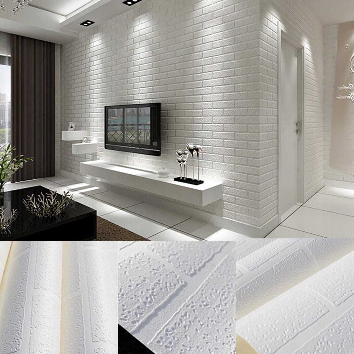 Papier peint 3d brique blanc non adh sif d coration for Decoration chambre 3d