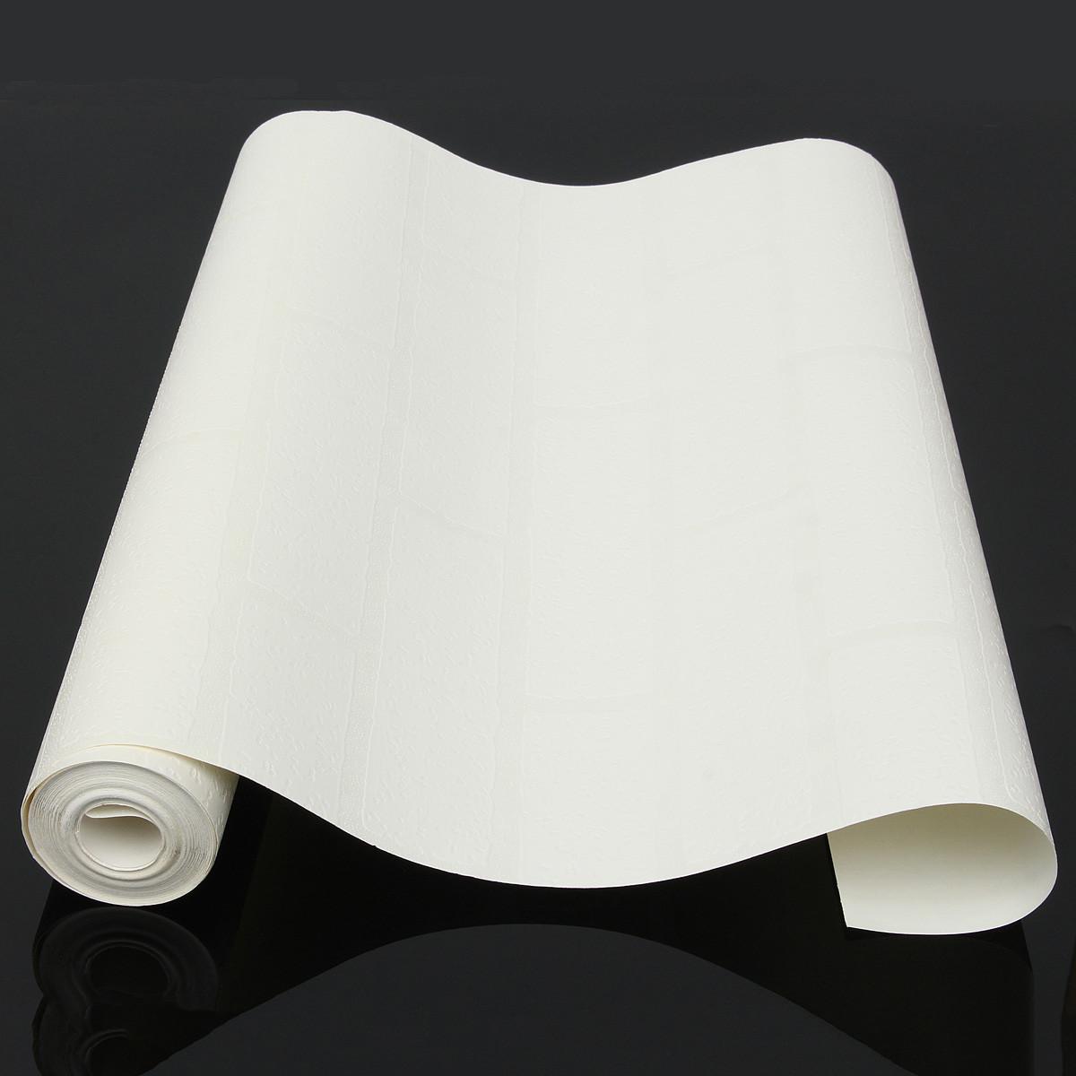 Papier peint 3d brique blanc non adh sif d coration for Papier miroir autocollant