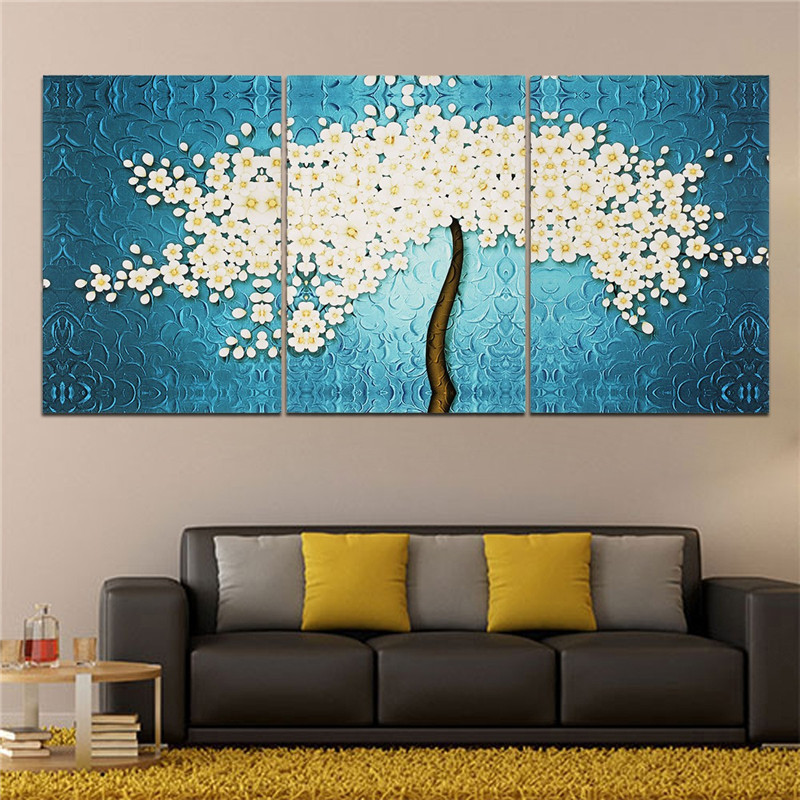 40 x 60cm 3 pannels no frame beautiful money tree painting wall art picture home decoration - Latest beautiful wall decoration ...