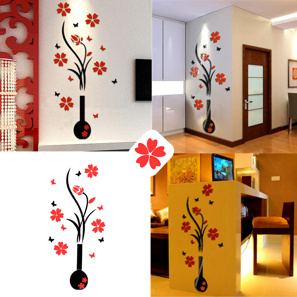 diy 3d fleur vase stickers autocollant murale adh sive pour d co chambre salon petit 46. Black Bedroom Furniture Sets. Home Design Ideas