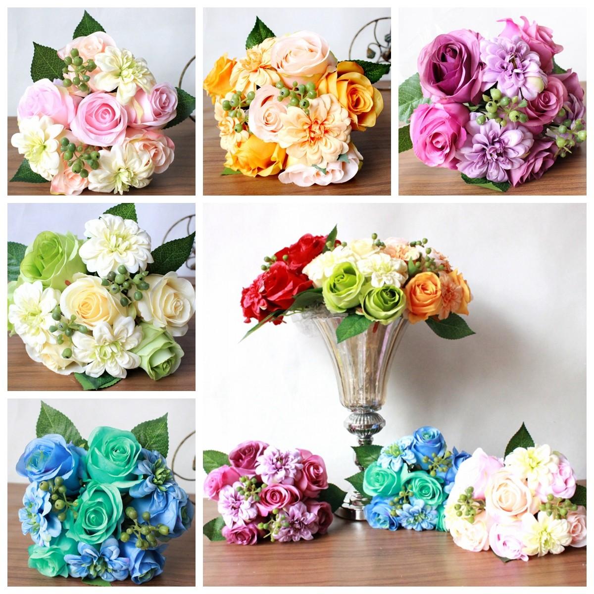 Rose Dahlia Flower Simulation Silk Flower Wholesale New Hot Korean Holding Fl