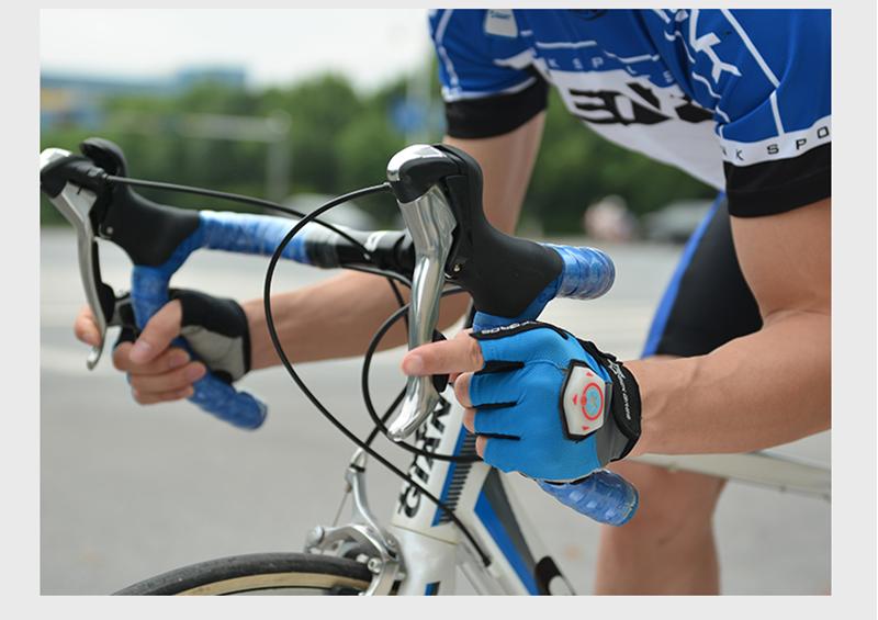 ROCKBROS Unisex Summer Half Finger Riding Gloves With Intelligent Steel Ring Light Luminous Gloves
