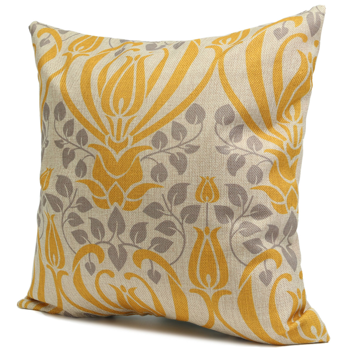 Retro Yellow Flower Cotton Linen Pillow Case Cushion Cover Home Sofa Back Throw Lazada Malaysia