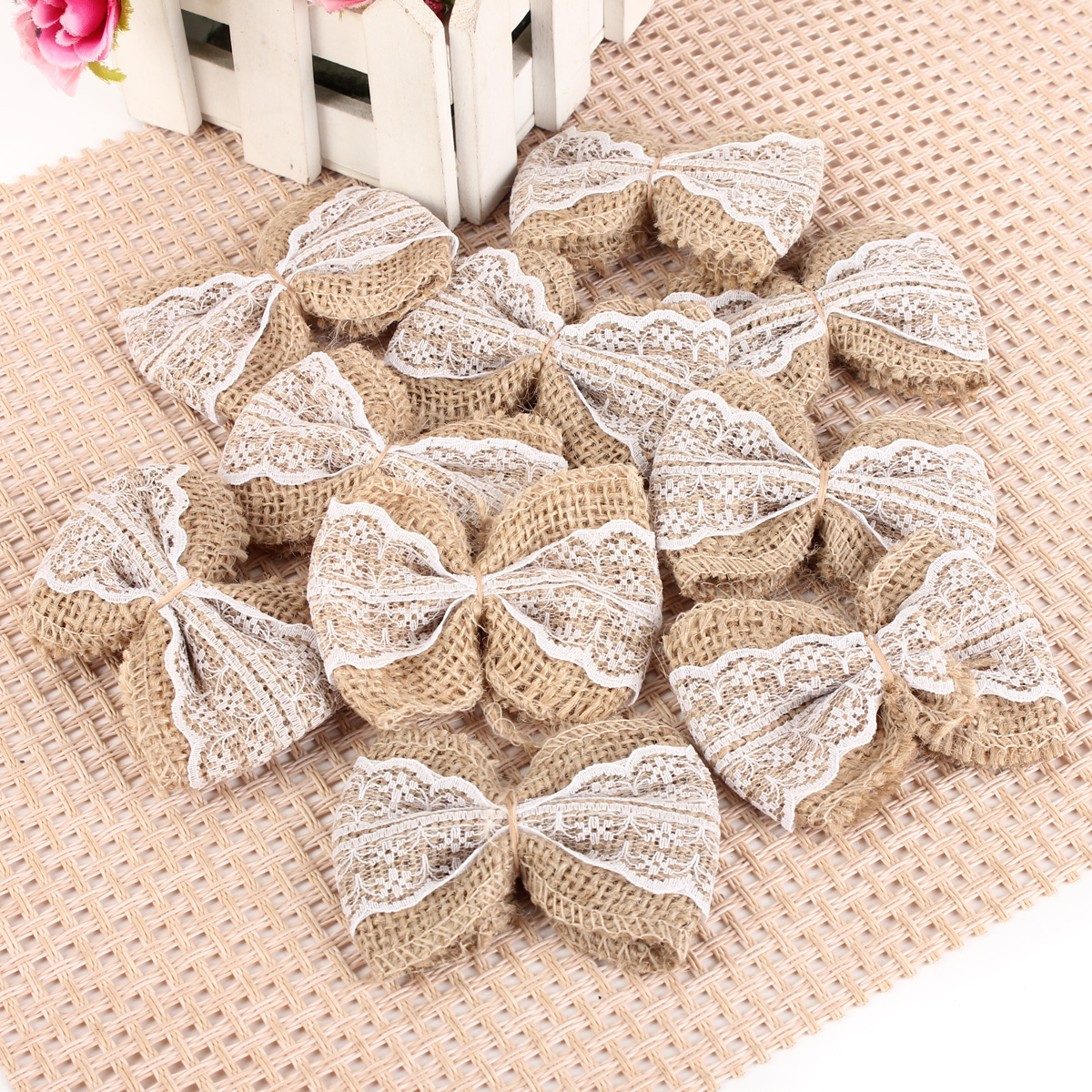 Hessian Lace Embellishments Small Shabby Chic Rustic