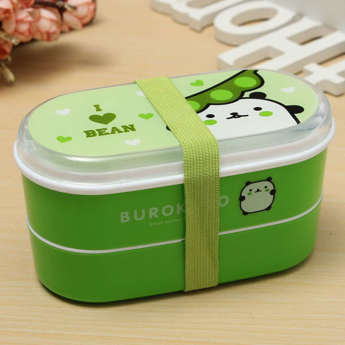 student cartoon lunch box food container storage portable bento box chopsticks green lazada. Black Bedroom Furniture Sets. Home Design Ideas