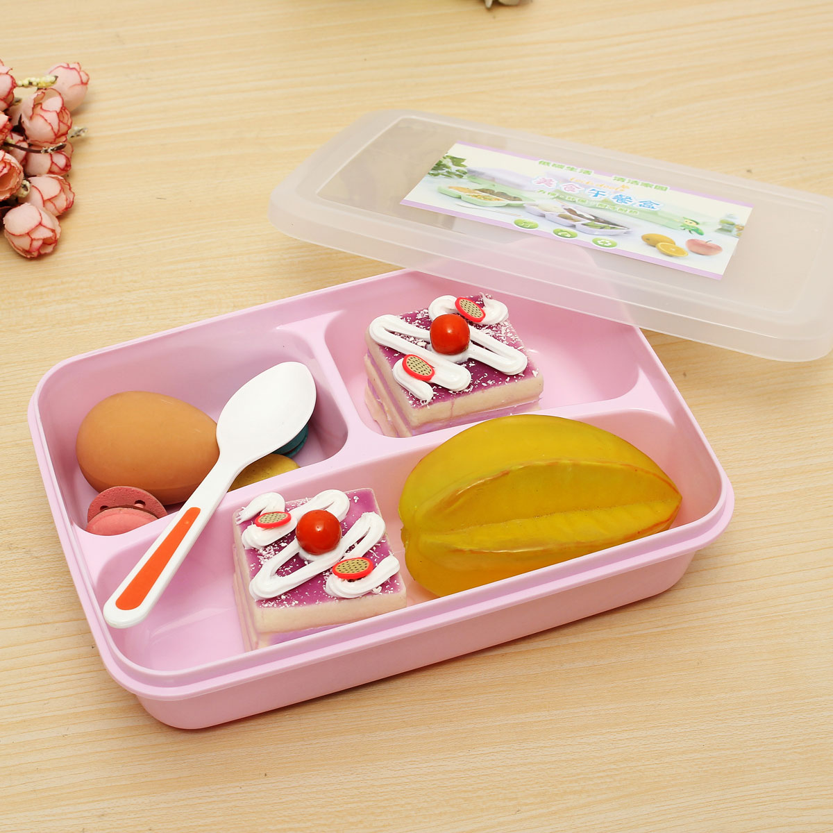 separated utensils food storage container microwave oven bento lunch box spoon pink lazada. Black Bedroom Furniture Sets. Home Design Ideas
