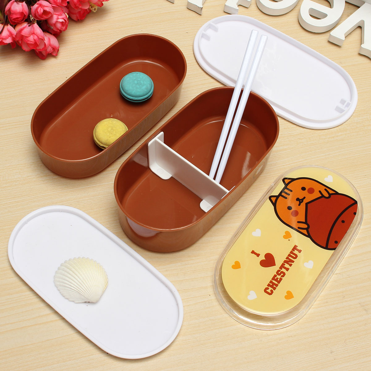 student cartoon lunch box food container storage portable bento box chopsticks lazada singapore. Black Bedroom Furniture Sets. Home Design Ideas