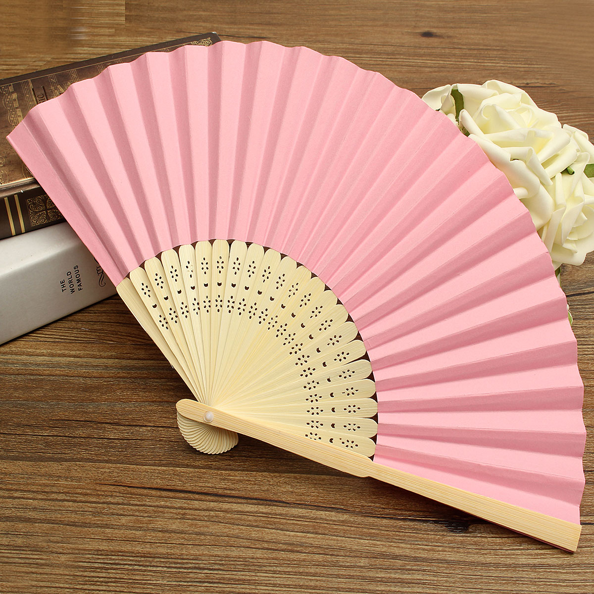 Colorful Chinese Folding Bamboo Fan Retro Hand Paper Fans Wedding Gift Favors Pink