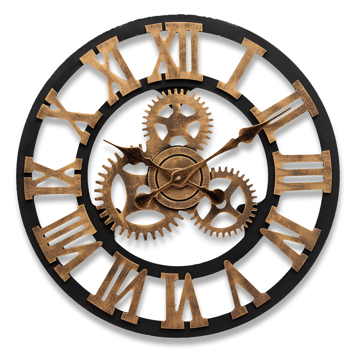 45cm 3d horloge murale quartz antique gear bois luxury. Black Bedroom Furniture Sets. Home Design Ideas