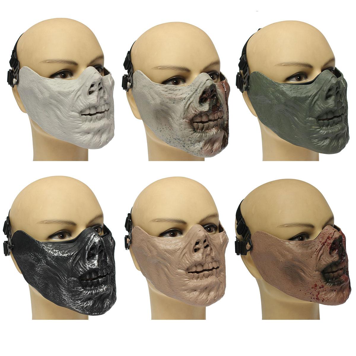 Masque demi visage squelette cr ne zombie militaire - Poids d un metre cube de sable ...
