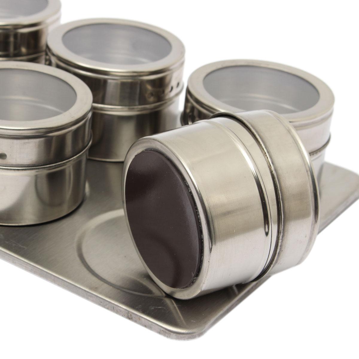 6pcs kitchen set magnetic spice jar set rack seasonings for Kitchen set lazada