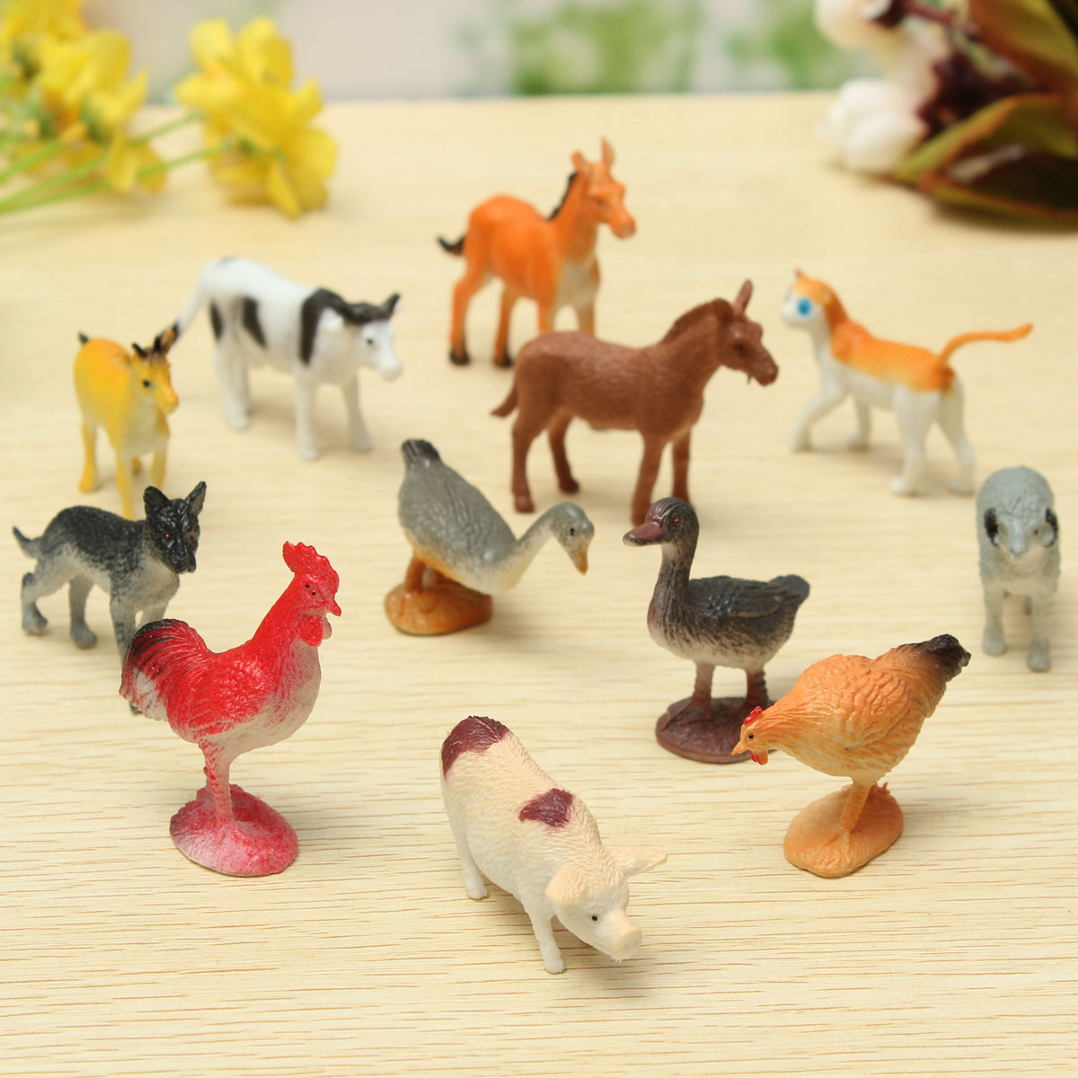 Toys For Animals : Pcs plastic farm yard figure pig cow horse dog animal