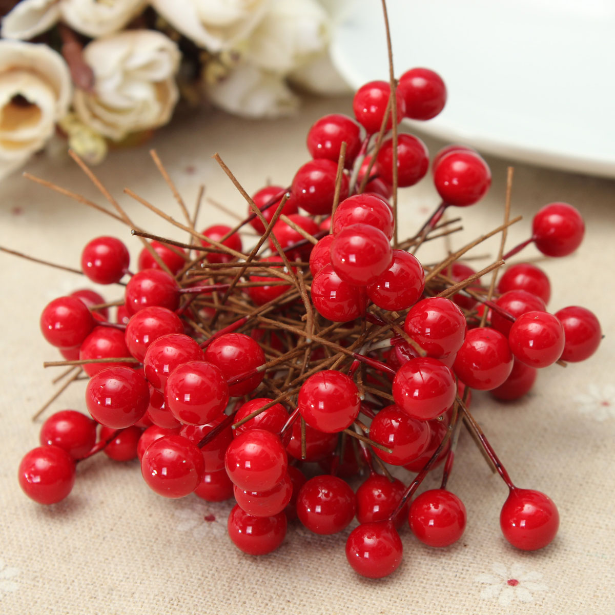 Red Berry Christmas Tree Decorations : Artificial mm christmas red holly berry tree display