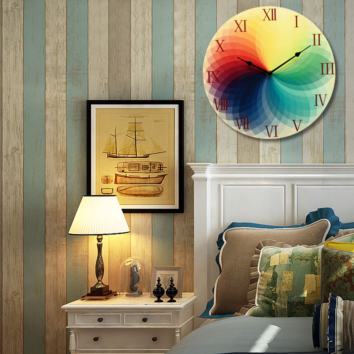 Multi color round wood wall clock office home living room for Multi color living room ideas