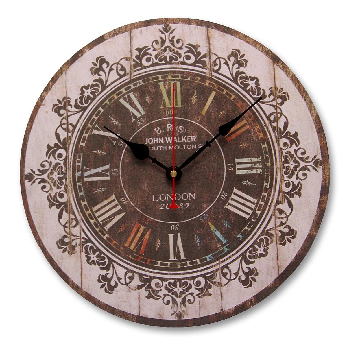 horloge 34cm style ancienne grande pendule murale ronde balancier cuisine salon achat vente. Black Bedroom Furniture Sets. Home Design Ideas
