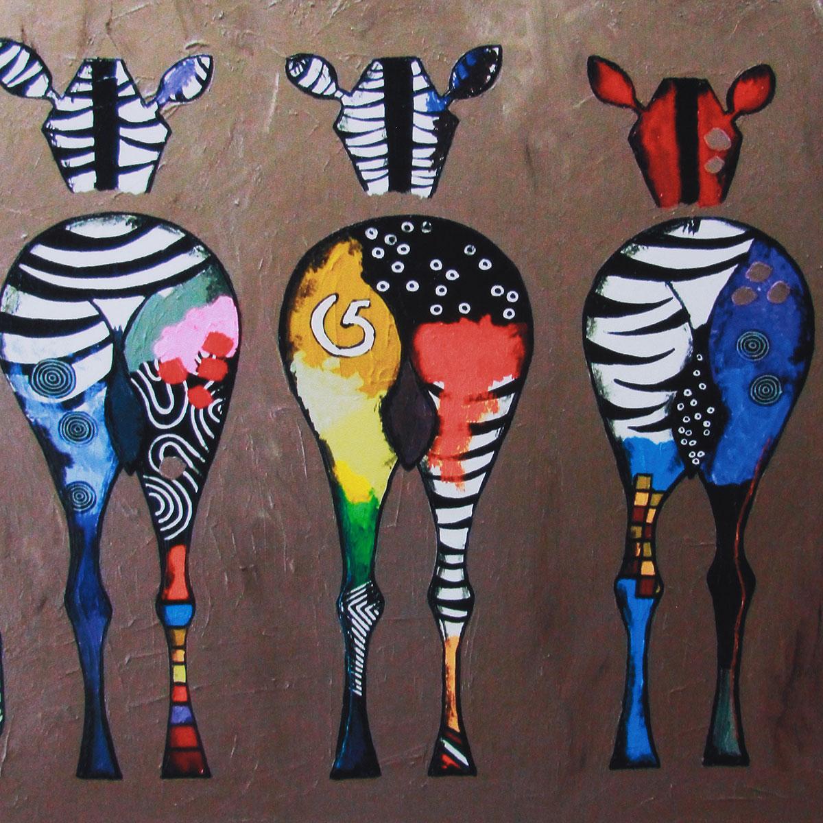 Tempsa Tableau Peinture à Huile Motif A Zèbre En Toile Pour Décor