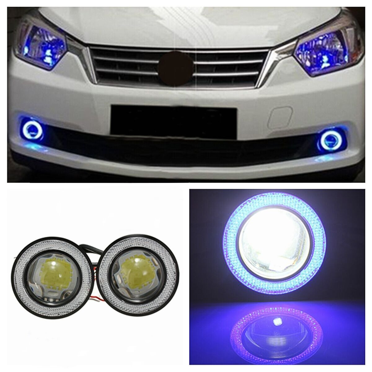 12v 3 led phare antibrouillard projecteur angel yeux anneau lumi re voiture bleu achat. Black Bedroom Furniture Sets. Home Design Ideas