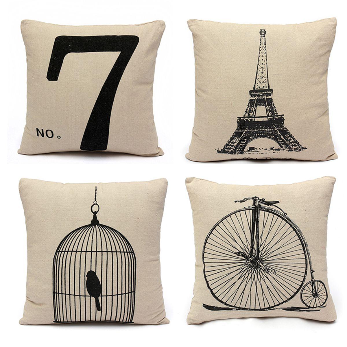 Housse coussin lin canap maison cushion cover 43x43cm lit for Housse divan lit