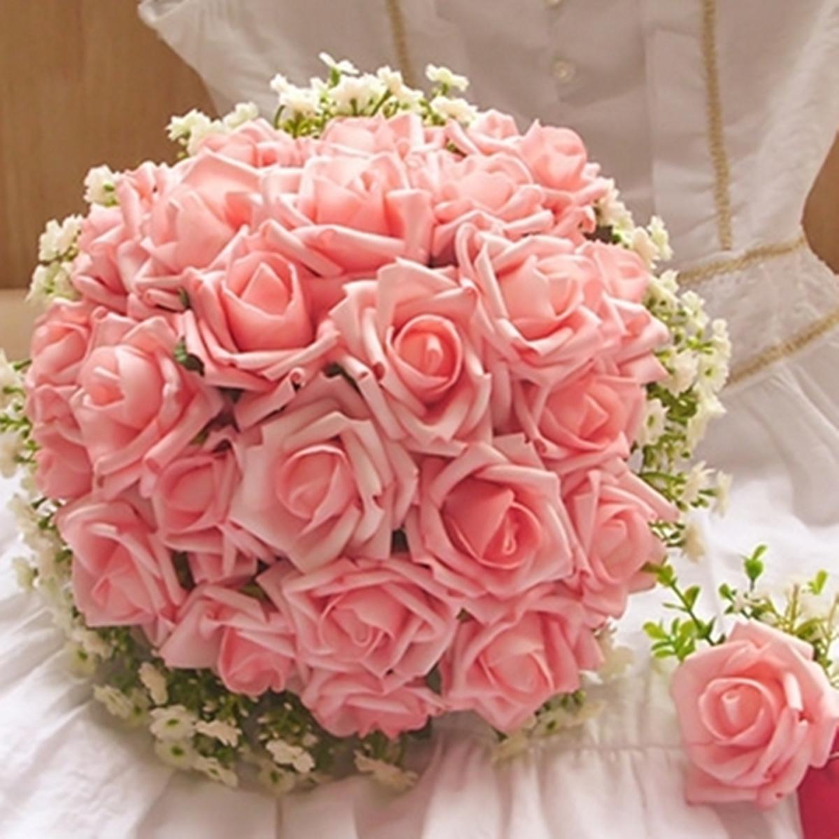 50pcs bouquet fleur rose artificielle feuille mousse. Black Bedroom Furniture Sets. Home Design Ideas