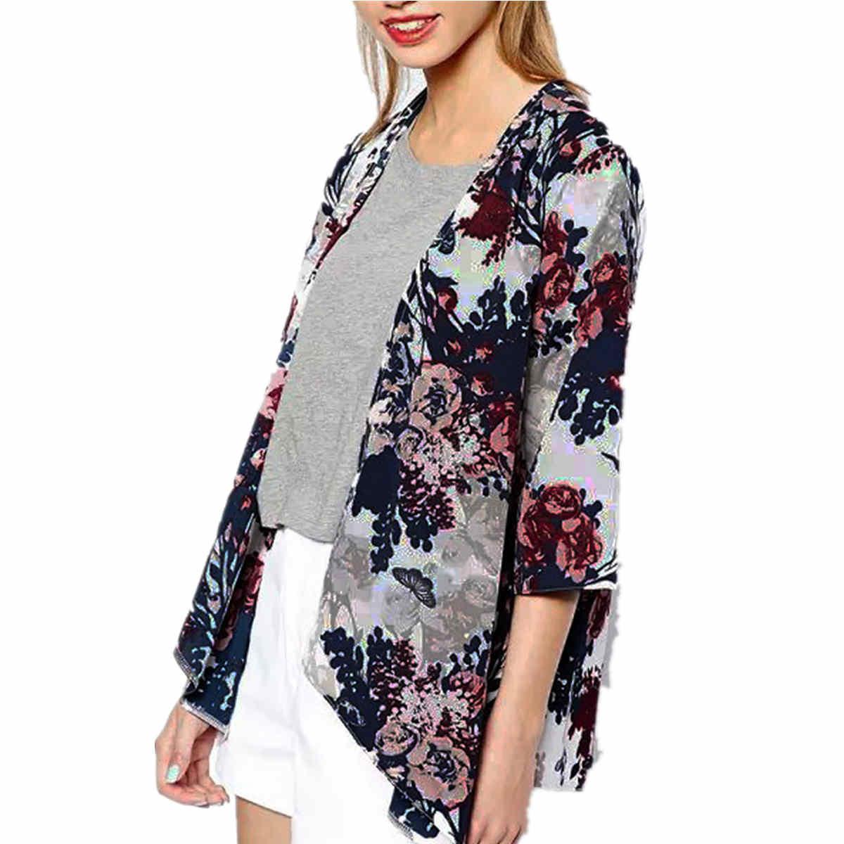 Women Floral Print Boho Half Sleeve Shirt Beach Blouse Cover Up ...