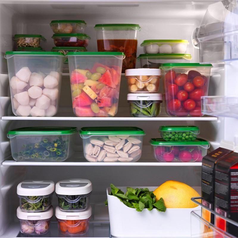 17pcs Sealed Crisper Refrigerator Plastic Food Storage Box