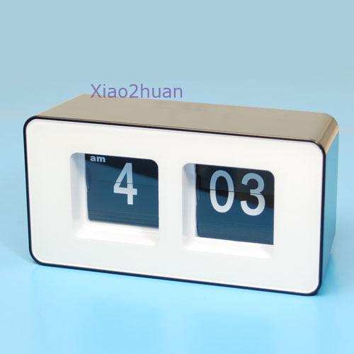 horloge pendule numerique lamelle auto flip flap retro annee 70 n blanc achat vente horloge. Black Bedroom Furniture Sets. Home Design Ideas