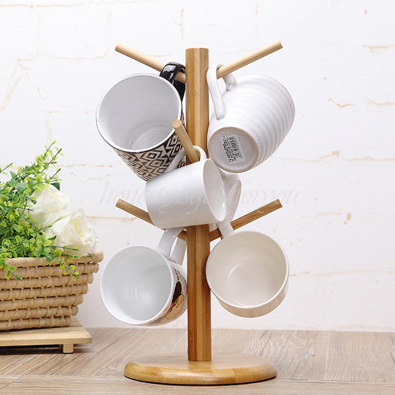 Wood mug tree stand cup rack cup saucer stand coffee cup for Ikea coffee cup holder