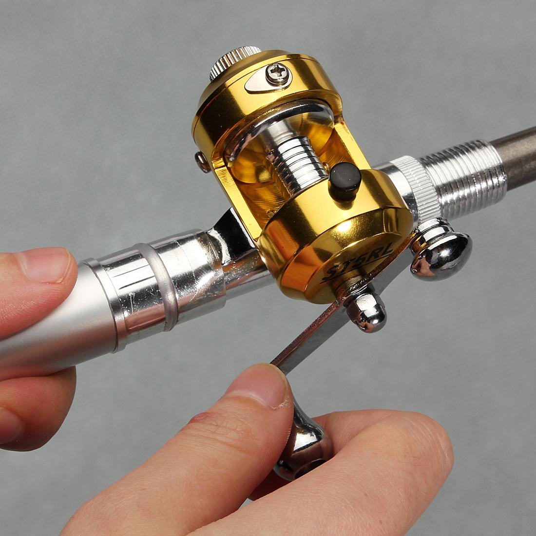Mini portable pocket fish pen shape aluminum alloy fishing for Mini fishing reel