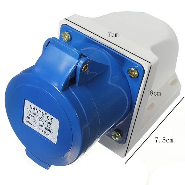 Tempsa fiche prise bleu tanche m le industrielle 3 poles ip44 220v 250v earth ce achat - Prise electrique male ...
