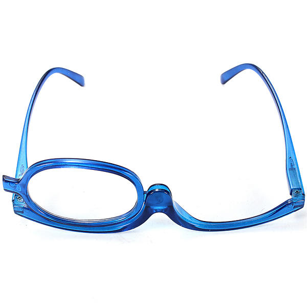 blue magnifying makeup reading glasses with flip lens