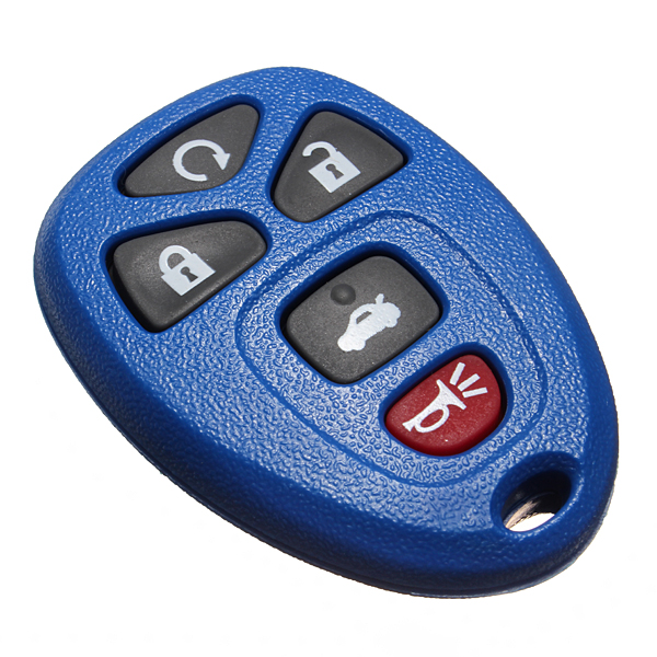 5 Button Blue Entry Remote Key Fob Shell Case Amp Rubber Pad For Gm Replacement Ebay