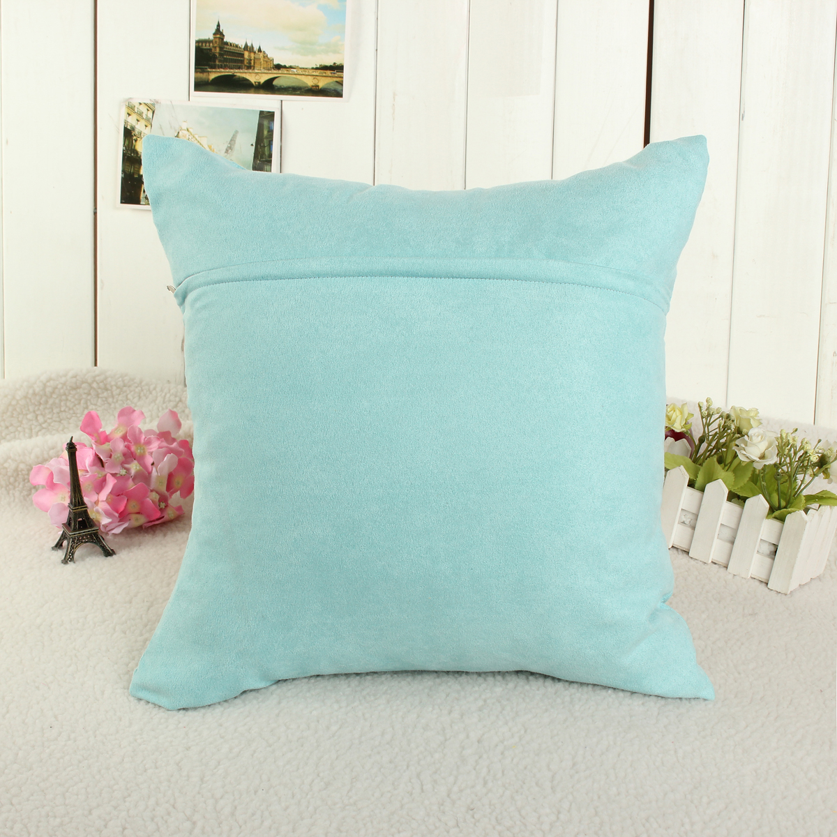 Candy Color Soft Micro Suede Sofa Pillow Case Cushion