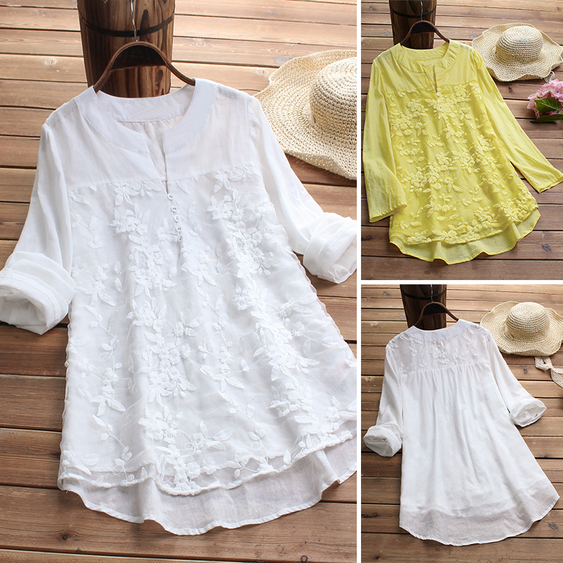 fd6f12269b16c UNIVERSAL Women Lace Long Sleeve Loose Top Blouse V Neck Linen Tops ...