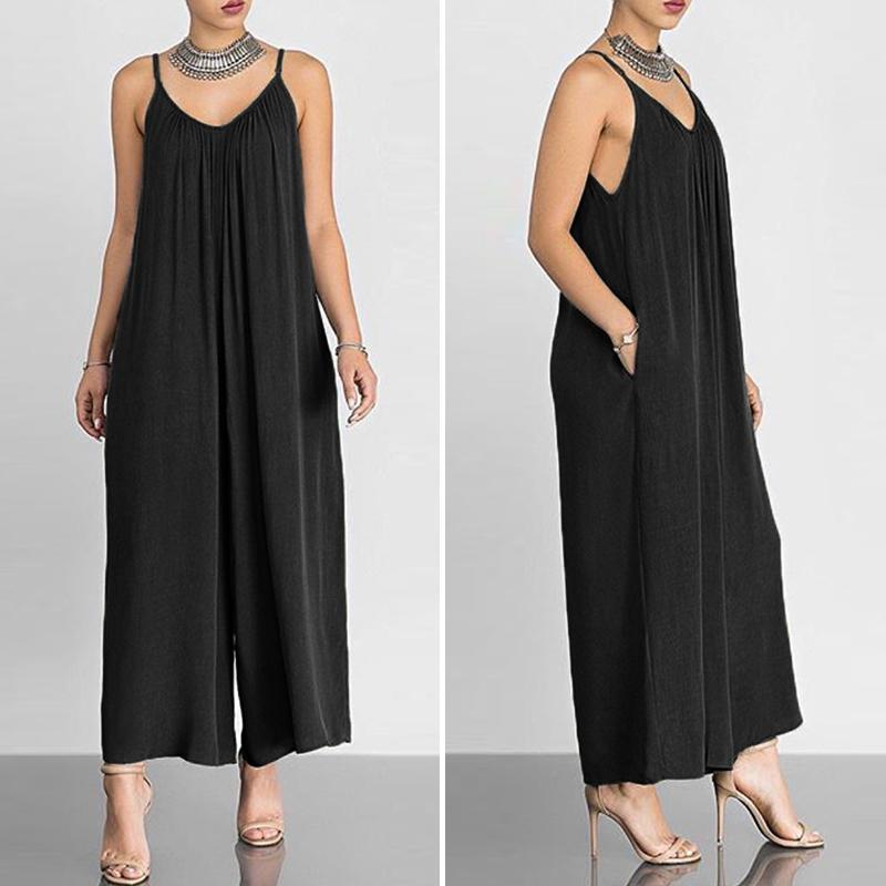 1e25ea49711ad Femme combinaison pantalon long de grande taille à bretelle réglable ...