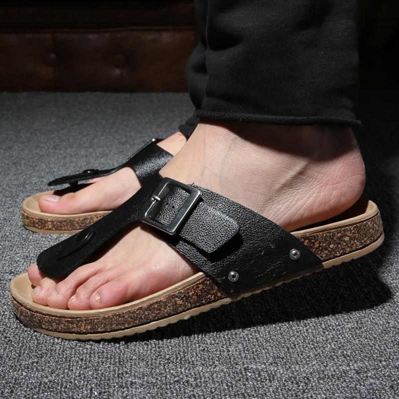 Mens Flip Flops Summer Wedge Sandals Cork Slippers Beach ...