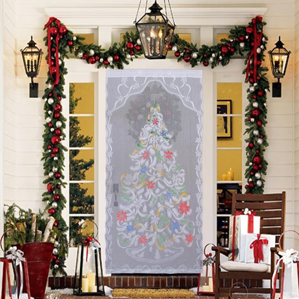 Deco De Noel Lumineuse Pour Fenetre 213cm x 101cm rideaux de fenêtre décoration dentelle sapin