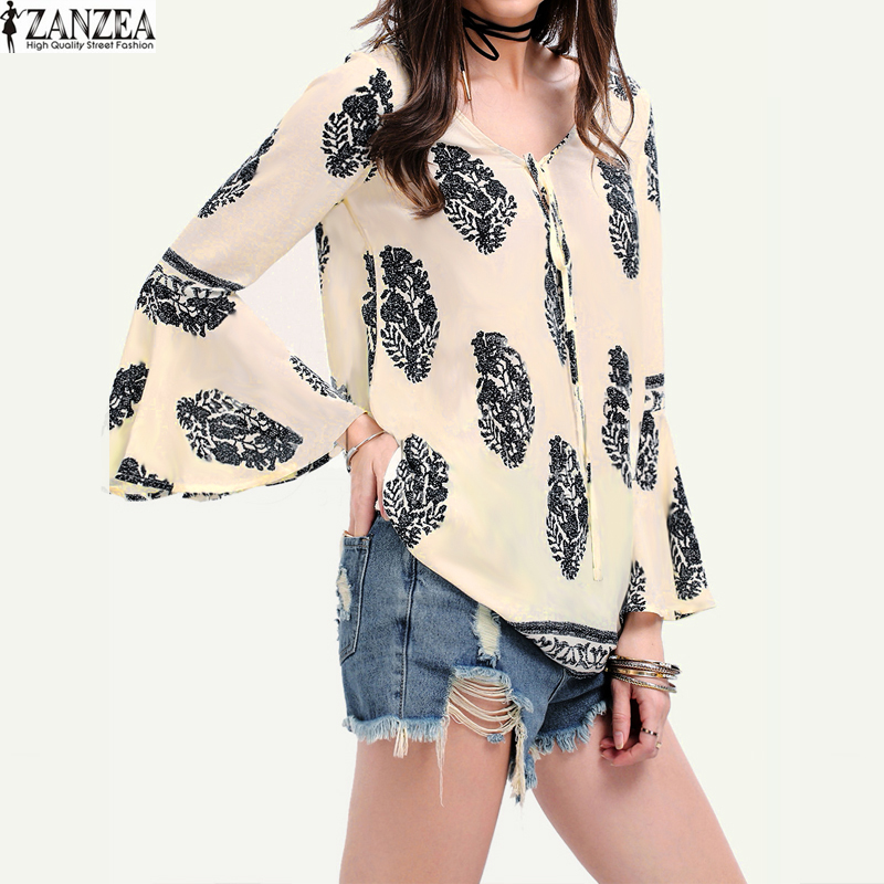 f2c5297ee7b ZANZEA Womens Lace-Up V-Neck Shirt Oversized Boho Floral Print Flare ...