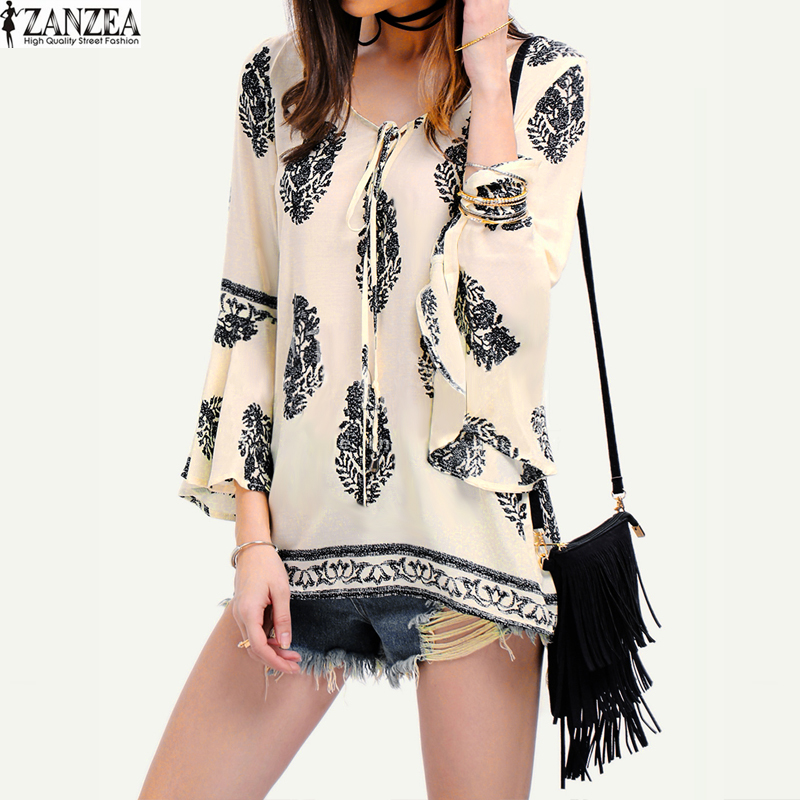 29f7a7e6125 ZANZEA Womens Lace-Up V-Neck Shirt Oversized Boho Floral Print Flare Sleeve  Casual Loose Blouse Tops (OffWhite)