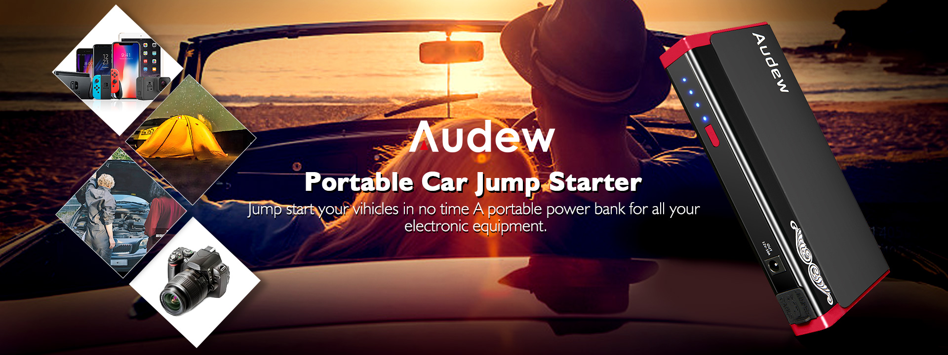 AUDEW Portable Car Jump Starter 13800mAh 400A Peak Auto Battery Booster (Up to 5L Gas or 3L Diesel Engine) PowerPack Charger with LED Light