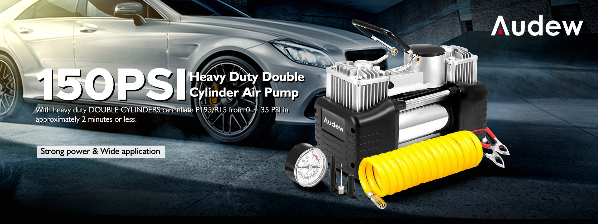 AUDEW 150PSI Heavy Duty Double Cylinder Air Pump