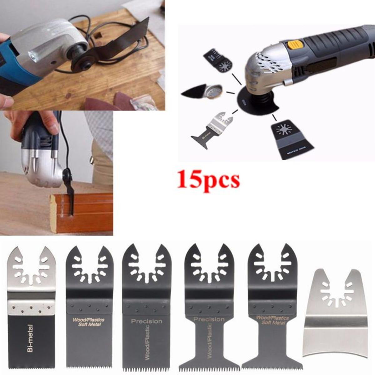 Decker 15pcs Oscillant Multi Outils Scie Lames pour DREMEL Porter-Câble Noir