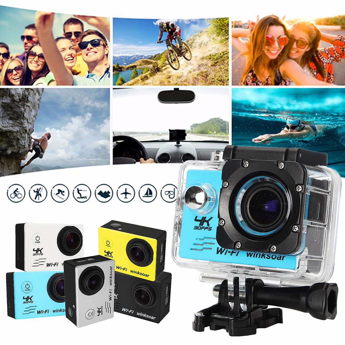 Waterproof 2 0'' LCD SJ8000 4K HD WiFi Sports DV Action Camera W/ Remote  Control White