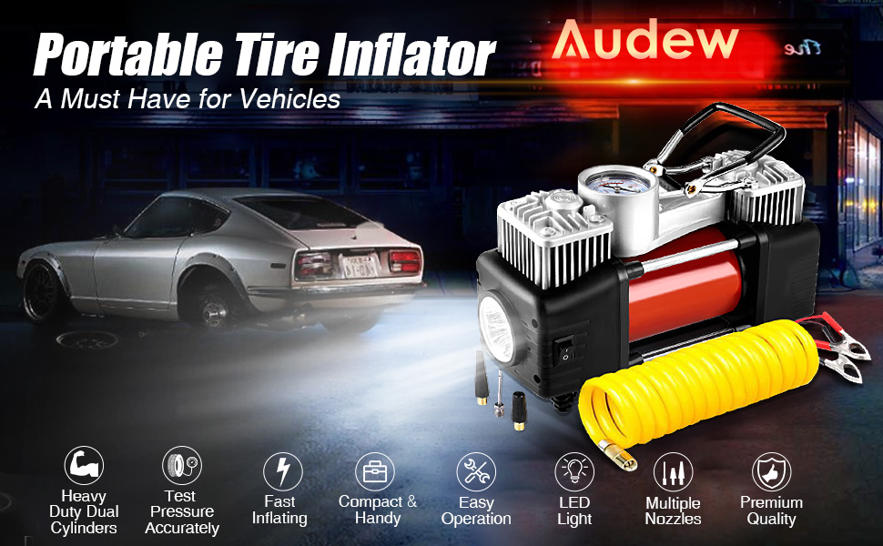 Audew 150PSI Heavy Duty Double Cylinder Portable Air Compressor Pump