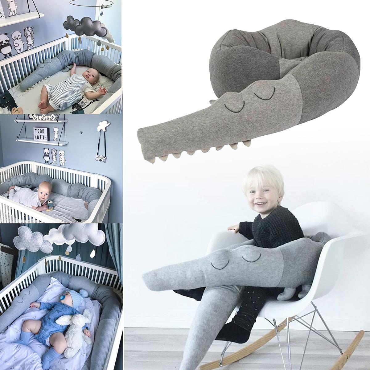 185cm Baby Crib Bumper Cute Crocodile Doll Cushion Pillow Infant Nursery Bedding