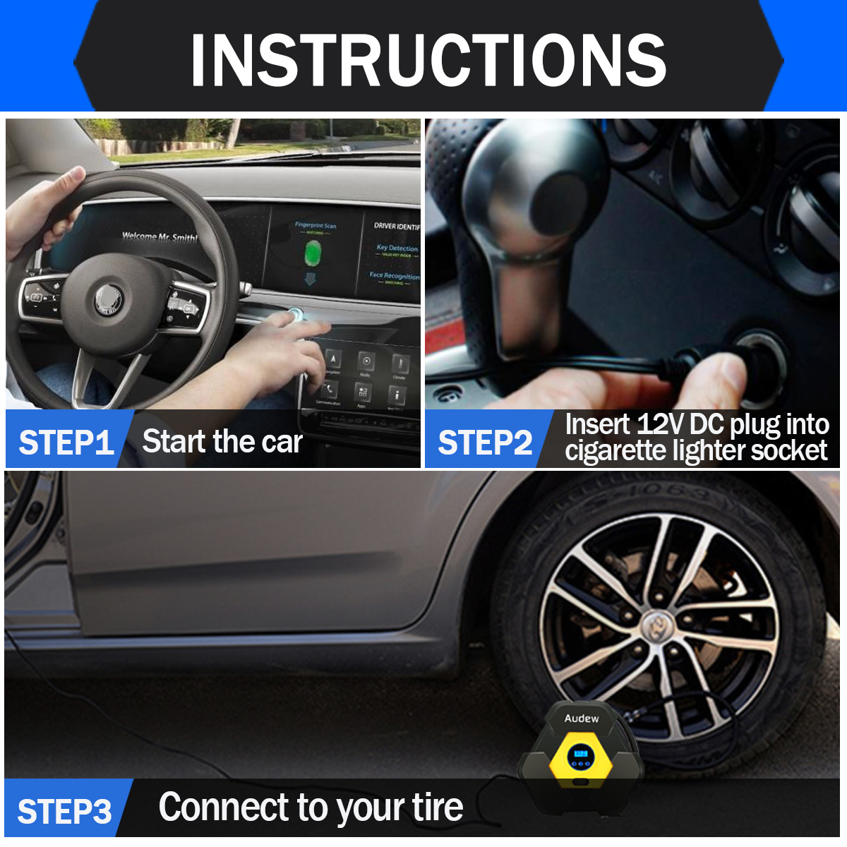 Audew Auto Digital Tire Inflator 12v Portable Tire Pump