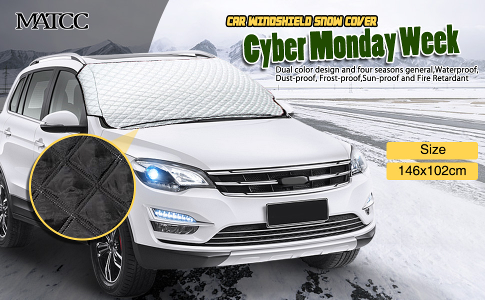 Ice and Frost Guard Auto Windshield With Mirror Covers Truck /& Car Windshields Fits SUV Windshield Snow Cover,Marrkey Winter Magnetic Snow